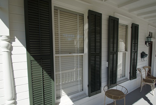 Green shutters on the outsie of home