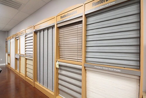 Variety of shade options in showroom