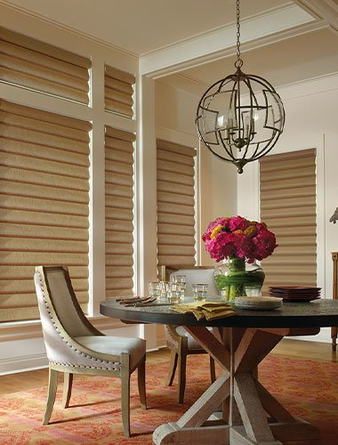 Hunter Douglas shades in dining room