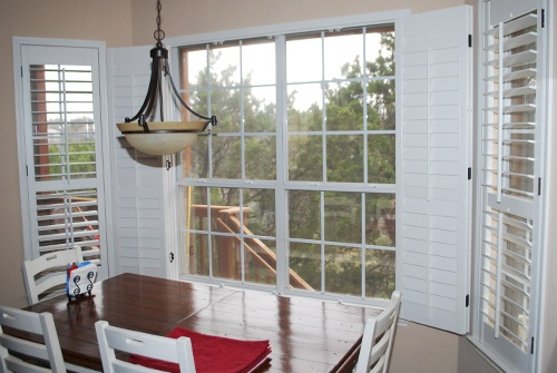 White interior plantation shutters in the breakfast area