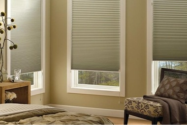 Hunter Douglas shades in bedroom
