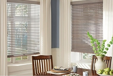 Hunter Douglas blinds in dining room