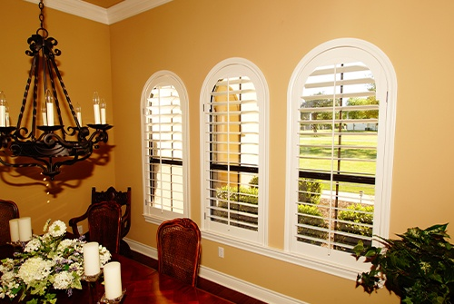 Installed plantation shutters