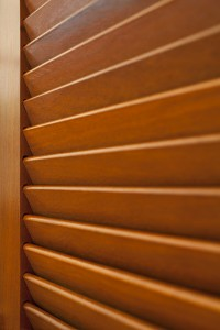 close up of stained shutters