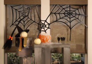 shutters with halloween decorations