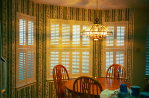 "plantation shutters with 2 panels and 2 1/"" louvers"